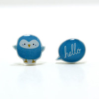 Hello There Little Birdy Earrings - Sterling Silver Posts Studs Kawaii Cute Mixed Set