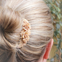 Floral Wedding Comb Rose Hair Ivory Cream Rose Peach Prom Bridal Spring Vintage Style Shabby Chic Hair Accessories Antique Brass Filigree