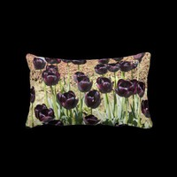 Black Tulips Lumbar Pillow from Zazzle.com