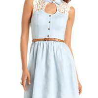 Belted Crochet Shoulder Chambray Dress: Charlotte Russe