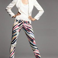 Rainbow printing stretch pencil Legging B059
