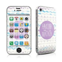 Hakuna Matata Design Protective Decal Skin Sticker (Matte Satin Coating) for Apple iPhone 4 / 4S 16GB 32GB 64GB