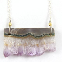Rare Amethyst Druzy Slice Necklace by MesaBlue on Etsy
