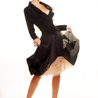 Silk taffeta with nude sheer ruffle inserts skirt by tsyndyma