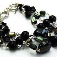 Chunky Layered Black Abalone Shells & Pearls Bracelets Costume fashion jewelry