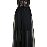 ROMWE | Dual-tone Black Maxi Dress, The Latest Street Fashion