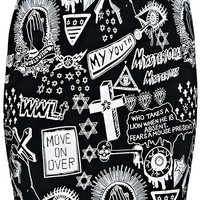"ROMWE | ""Graffiti Religious Pattern"" Black Skirt, The Latest Street Fashion"