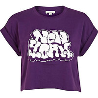 Purple New York graffiti cropped t-shirt