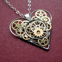 "Mechanical Heart Necklace ""Starcrossed"" Steampunk Heart Pendant Love Sculpture A Mechanical Mind Wearable Art Clockwork Gear Heart"