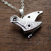 "Clockwork Bird Pendant ""Tweets"" Mechanical Bird Necklace Elegant Steampunk Balance Cock Sparrow Gear Robot Wing AMECHANICALMIND"