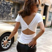 SEXY TWISTED CUTOUT BACK TEE