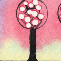 Orchard Bookmark original one of a kind handpainted watercolor trees