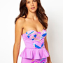 Zinke Chevron Print Swimsuit With Removable Peplum at asos.com