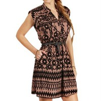 Black/Taupe Tribal Shirt Dress
