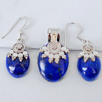 34.64cts BLUE LAPIS GEMSTONE 925 STERLING SILVER PENDANT EARRINGS SET E6192