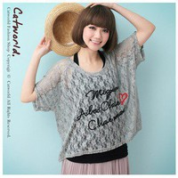 Romantic Nets Lace Letter Pattern Chiffon Tee Gray