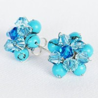 Turquoise Gem Stone with Swarovski Crystal Bead Handmade By Flower Gemstone