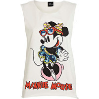 White Minnie Mouse sequin tank top - comic - women