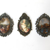 Vintage Mid Century set ornate Italian brass frame silk prints