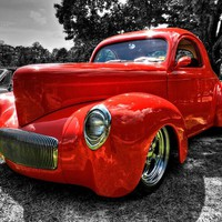 Red '41 Willys Coupe 002 Photograph by Lance Vaughn - Red '41 Willys Coupe 002 Fine Art Prints and Posters for Sale