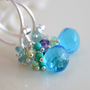 NEW Cluster Earrings, Swiss Blue Quartz, Peridot Apatite Turquoise Amethyst Gemstones, Wire Wrapped, Sterling Silver Jewelry, Free Shipping