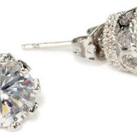 CZ by Kenneth Jay Lane &quot;Classic CZ&quot; Vintage 4 cttw Stud Earrings