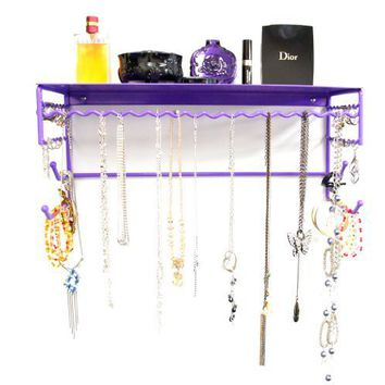"Purple 17"" Wall Mount Jewelry & Accessory Storage Rack Organizer Shelf for Earrings, Bracelets, Necklaces, & Hair Accessories"