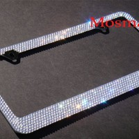 Popular Bling 7 Rows White/Clear (A Type Screw Cap) Crystal Rhinestone-Metal Chrome License Plate Frame:Amazon:Everything Else
