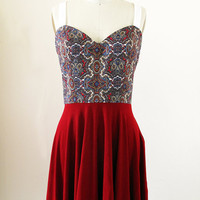 Red Dress Cut out Back with Sweetheart Neckline by RemixdClothing
