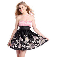 Clarisse- -Floral Strapless Homecoming Dress-Clothing-Juniors-Dresses