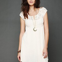 Free People Brushed Lace and Gauze Top