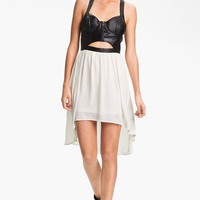 Lush Clothing Cutout Faux Leather Bustier Dress (Juniors) | Nordstrom