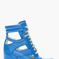 Marc By Marc Jacobs Blue Cut-out Leather Sneaker Wedges for women | SSENSE