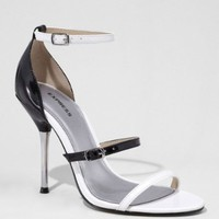 MULTI STRAP METAL TIPPED HEEL PATENT SANDAL