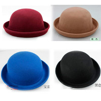 Korea Nobility Britpop Women Brim Bowler Derby Hat Caps Solids Cloche Solids 2mg