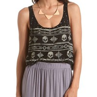 Skull Print Burnout Crop Top: Charlotte Russe