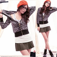 Women Leopard Zipper Cardigan Waist Short Hooded Hoodies Outerwear Jacket Casual