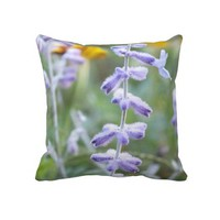 Purple Russian Sage Flower Throw Pillow from Zazzle.com
