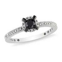 1/3 CT. T.W. Enhanced Black and White Diamond Frame Ring in Sterling Silver - View All Rings - Zales