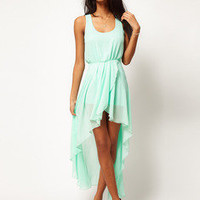 ww   Mint chiffon Long skirt dress