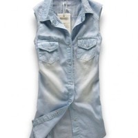 Longline and Oversized Washed Denim Vest with Point Collar