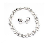 [27.89] Brilliant Rhinestones & Alloy & Man-made Pearl Necklace & Earring For Your Fabulous Wedding Dress   - Dressilyme.com