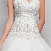 [296.99] Striking Satin & Organz Satin A-line Strapless Sweetheart Neckline Beaded Embroidery Ruffled Wedding Dress - Dressilyme.com