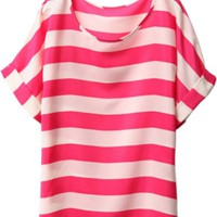 Round Neck Bat Sleeve Stripe T-shirt - OASAP.com
