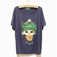 Fluffy Ball Cute Kitty Batwing Loose Short T-shirt