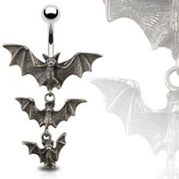Gothic Tri-Vampire Bats Dangle Navel Ring - 14GA 3/8&quot; Long:Amazon:Jewelry