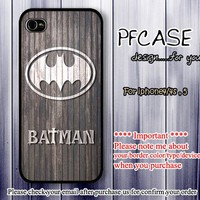 Batman on wood style : Case For Iphone 4/4s ,5 / Samsung S2,3,4