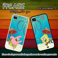 Patrick star and Spongebob beach style : Case For Iphone 4/4s ,5