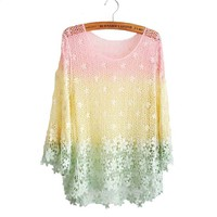 Buy Rainbow Crochet Lace Blouse on Shoply.