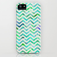 GREEN FLORAL CHEVRON iPhone & iPod Case by Bianca Green